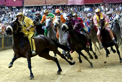 Tuscany   Sunday 16th august   Palio horse race in Siena